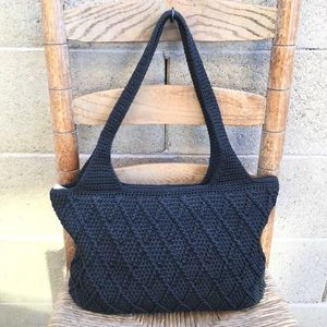 The Sak Black Crocheted Tote Hand Bag Great Size